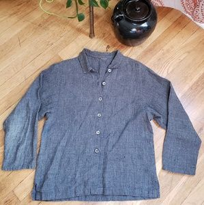 Charcoal Gray Linen Button-Up